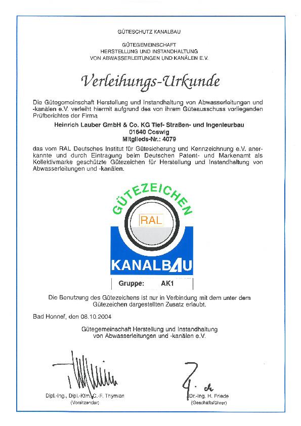 Verleihungs-Urkunde Heinrich Lauber GmbH, Güteschutz Kanalbau